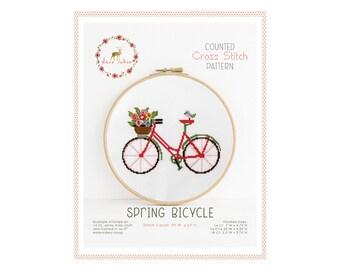 Gezählt Cross Stitch Pattern - Frühling Fahrrad / Kreuzstich, diy, Anleitungen, Stickerei, Muster, Geschenk, Fahrrad, Fahrrad Kreuzstich-Muster