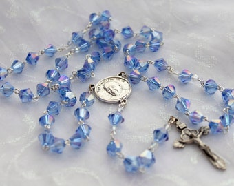 Blue Sapphire Pope Francis Rosary