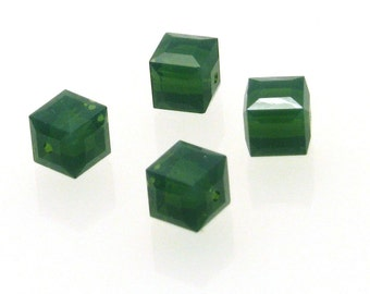 Clearance Sale 4pcs 8mm Palace Green Opal  Swarovski Cubes, Swarovski Cube, 8mm Cube Bead, Green Swarovski Square Cube Bead