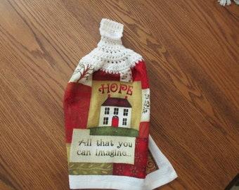 Hanging Kitchen Towel with Crochet Top