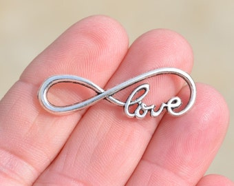 1 Silver 39mm Infinity Love Connector Charm SC3564
