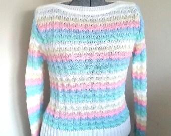 Vintage 1970's Pastel Ladies Sweater