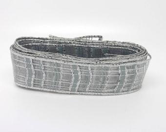 Metallic Grey Ribbon, polyester, brass, 30 mm