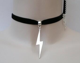 LIGHTNING Bolt Strike CHARM 10mm BLACK Velvet Ribbon Choker - kh.. or choose another colour velvet, handmade to order  :)
