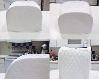 White 2 Slice Toaster Cover Dust Covers Quilted Fabric Kitchen Small Appliance Covers Made To Order