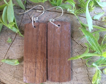 Wood Earrings, FREE SHIPPING, Vertical Bar Earrings, Black Walnut Earrings, Wooden Dangle Earrings,  Black Walnut Wooden Earrings