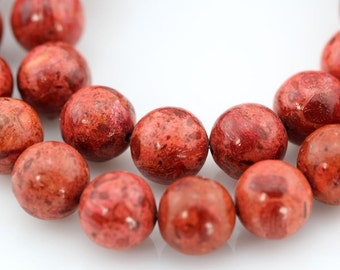 12mm,Round Sponge Coral Beads,One Full Strand,Round Coral Beads,Coral Beads,Red Coral Beads,Gemstone Beads---34 Pieces--16 inches--BC008