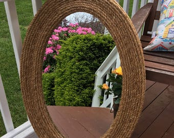 Large Oval Rope Mirror