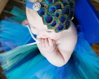 Peacock Headband, Baby Headband, Flower Girl Bow, Clear Rhinestone, All Sizes, Many Elastic Colors