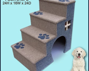24 inches tall wooden dog steps, pet stairs