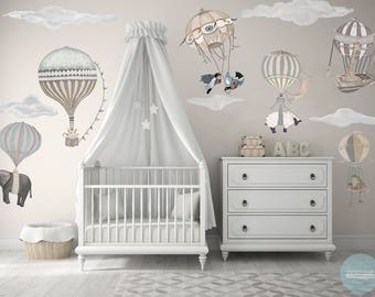 NEW! XL Neutral Set, 7 Hot Air Balloon Animals & 9 Clouds, nursery, baby, hand painted look, Repositionable fabric Wall decals,