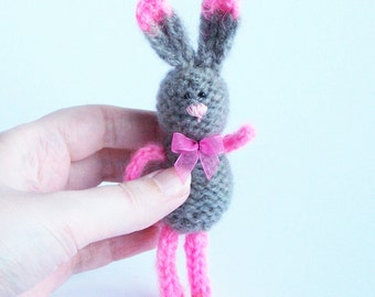 Gray bunny toy decor Stuffed rabbit with ribbon Home decoration Spring rustic country indoor decor Multicolor animal Gift for him her