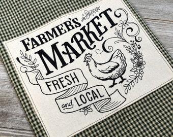 Farmer's Market Kitchen Towel, Farmhouse Style, Towel With Hanging Loop, Chicken Hand Towel, Hen Tea Towel, Applique Kitchen Towel, Gift