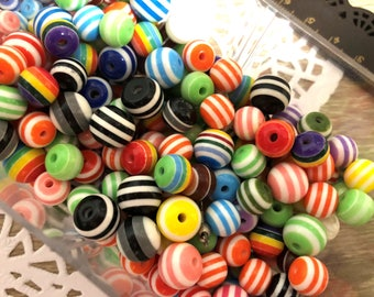 50 x mixed Color or brown-grey striped plastic beads-stripsed Plastic Acrylic beads (choose color)