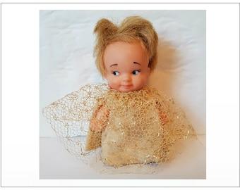 """Uneeda PEE WEE Doll w/ original dress Hong Kong vintage 1960's 1965 - 3"""" - 4"""""""