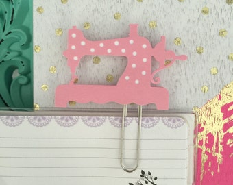 pink polka dot vintage sewing machine decorative Planner Clip Bookmark paperclip page marker Kawaii pastel cute
