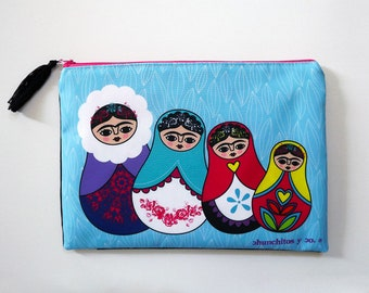 Matrioshka, cosmetic bag, makeup bag, pencil case, russian doll, frida, frida purse, frida bag, frida art, frida portrait