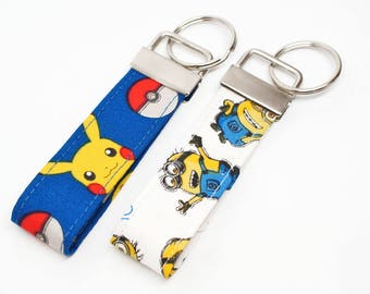 Chracker FOB - Pokemon, Minion Key Chain / Key Fob / Wristlet - Choose Your Fabric and lenght