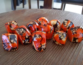 Ring - Tagua Nut Ring in Orange, Sizes US 7 to 8.5