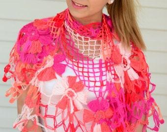 Crochet Shawl, Dahlia Flower Shawl, Triangle Shawl, Floral Fantasy, Spring Accessory, Red, Pink, Coral