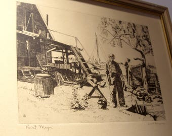 "Lionel Barrymore Etching ""Point Magu"" Under Glass in Wood Frame Great Gift"