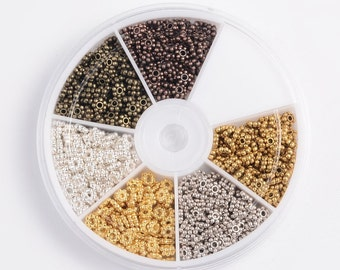 Daisy Spacer Bead Mix - 6 colors with container -  650+ pieces - 4.5mm