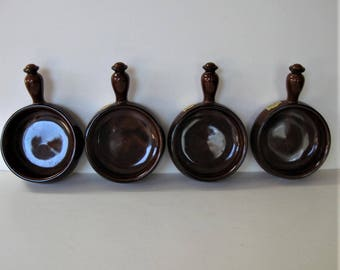 """Set of 4 brown glazed stoneware bean pots with handles, 6 1/4"""" x 4"""", ceramic onion soup crocks, individual serving bowls, gift idea"""