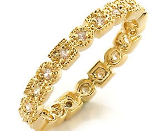 Ring - reflo450-gold plated - set CZ 360 degrees