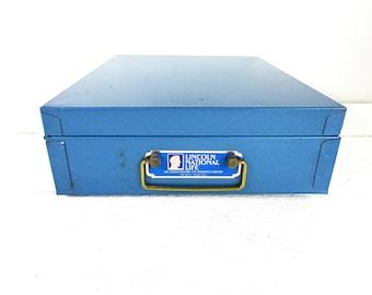 Vintage Durham Manufacturing Co Lincoln National Life Insurance Blue Metal Safe Deposit Box