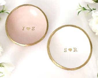Personalized Ring Dish / Initials and Heart / Gifts for Her / Engagement Gift / Wedding Gift / Bridesmaids Gift / Personalized Jewelry Dish