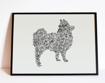 "The Pomeranian - The story of the dog inside the silouhette - traits personnality - Hand signed - 8""x12"" or 12""x16"" - A4 - A3"