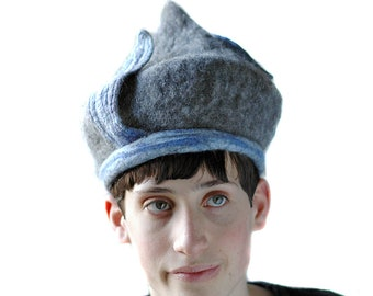 Onion Dome Gray Felt Hat made of Natural Finnish Wool and Blue Merino Leaves - Wet Felted Hat - Pixie Tam Hat with Kinetic Elements