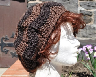 Chevron Ripple Crochet Hat - Lightweight Crochet Brown Beret - Brown Hat - Women's Accessories - Women's Hat