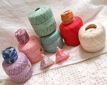 Rainbow EMBROIDERY FLOSS & CROCHET Balls, 9 pc Lot Vintage 6 Strand Variegated Solid Colors Cotton Craft Tatting Lace Doily Supply Pyramids
