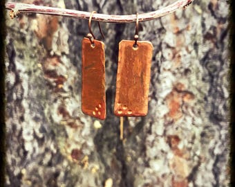 Copper Polished Rectangular Earrings