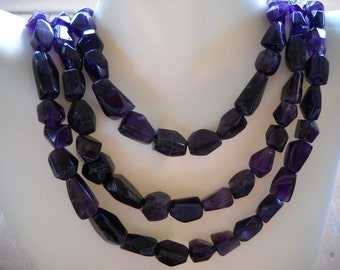 Handmade Triple Strand Genuine Amethyst & Sterling Necklace Item W-#353