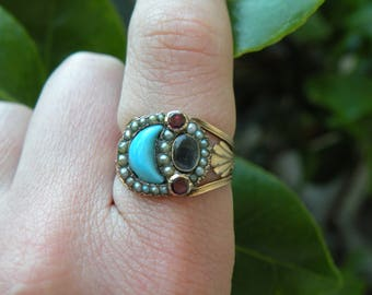 Georgian Padlock Mourning Ring with Turquoise, Pearls and Garnets, 9k Rose Gold