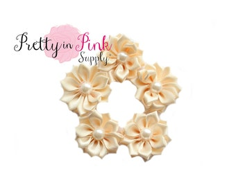 Ivory Small Satin Pinwheel with PEARL Flowers- You Choose Quantity- DIY Headband Supplies- Flower- Wholesale- Supply Shop