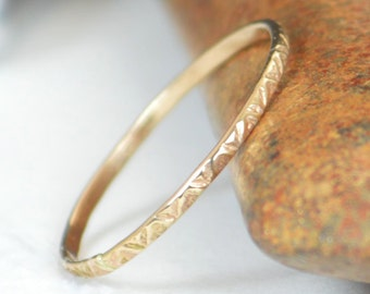 14k Gold Bohemian Ring, Rustic Wedding Ring, Thin Gold Ring, Dainty 14k Gold Ring, Ring, Gold Boho Ring, Rustic Gold Rings, Gold Band, A19
