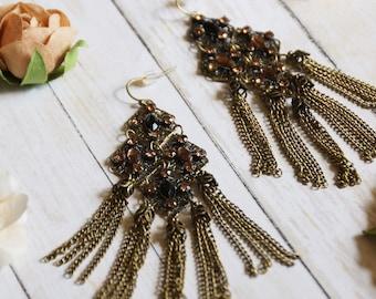 Bohemian chain and rhinestone earrings