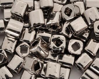 Seed Beads-4mm Cube-711 Nickel-Toho-7 Grams