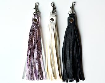 FILLY Leather Tassel, Purse Tassel, Bag Charm, Charm, Leather Tassel, Purse charm, gift for her,  stocking stuffer, metallic pink tassel