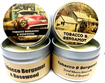 Combo - Tobacco Bergamot & Tobacco Bergamot and Rosewood Set of Two 4 ounce soy tin candles - take them anywhere!