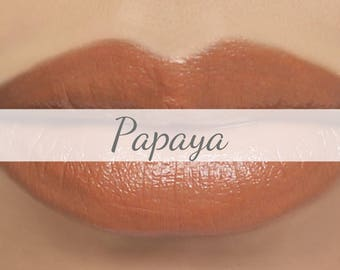 "Peach Lipstick Sample - ""Papaya"" light orange natural vegan lipstick"