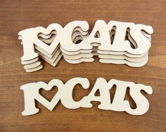 "I Love Cats Wood Cat Sign 5 1/2"" x 1 1/2"" x 1/8"" Laser Cut Wood - 5 Pieces"