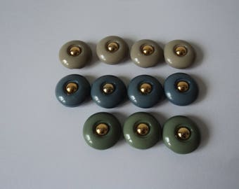 French vintage set of eleven lovely craft buttons (04674)