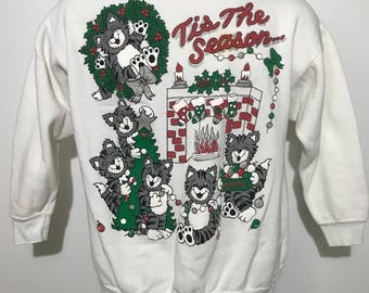 Vintage Cat Christmas Sweatshirt S/M