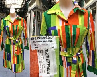 1973 Marimekko Design Research Vibrant Cotton Shirtdress - Medium Size