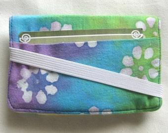 Business Card Holder Mini Wallet- Bifold Inside Outside Wallet inBlue and Yellow with Tye Dye Flower Fabric