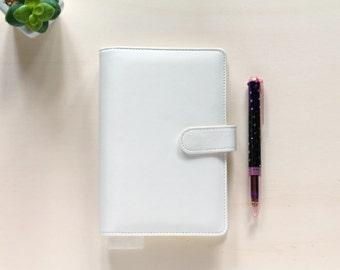 Personal planner binder, planner organizer A6, white Macaron planner in leatherette